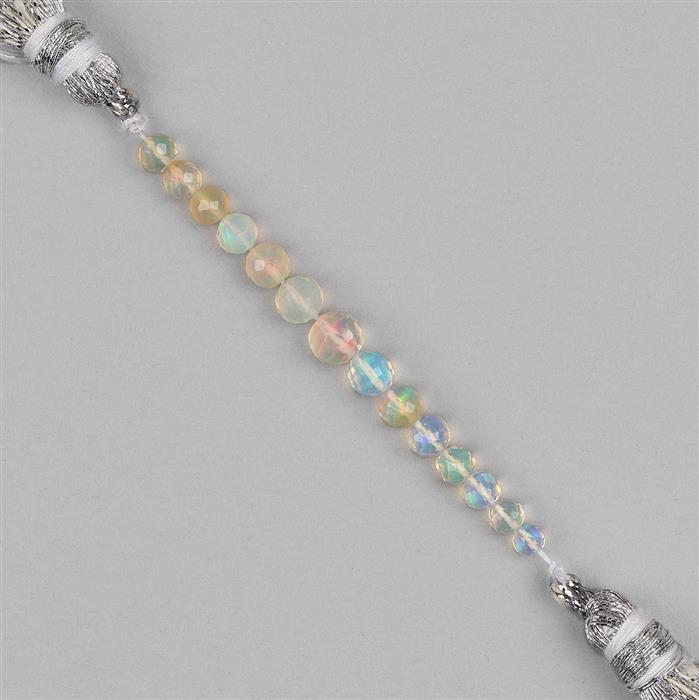 4cts Ethiopian Opal Graduated Faceted Rounds Approx 3 to 5mm, 5cm Strand.