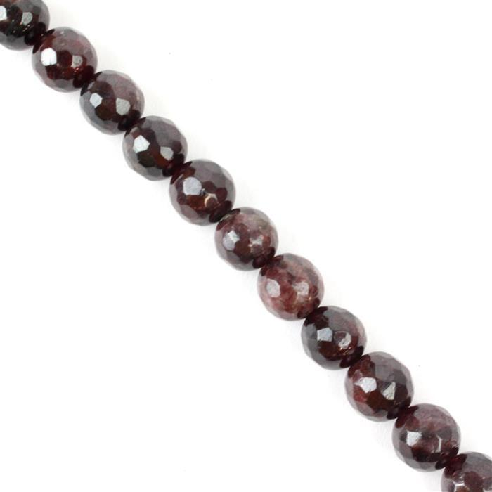310cts Red Garnet Faceted Rounds Approx 9mm, 37cm strand