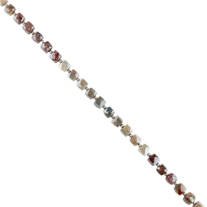 98cts Multi Colour Coated Sapphire Faceted Cubes 6mm, 20cm Strand.