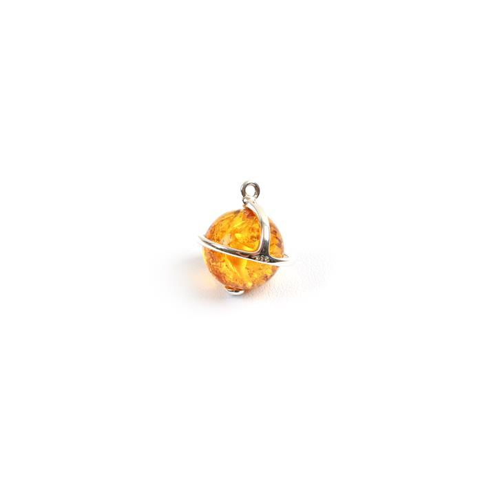 Baltic Cognac Amber Globe Charm, Sterling silver,  Approx 14x13mm