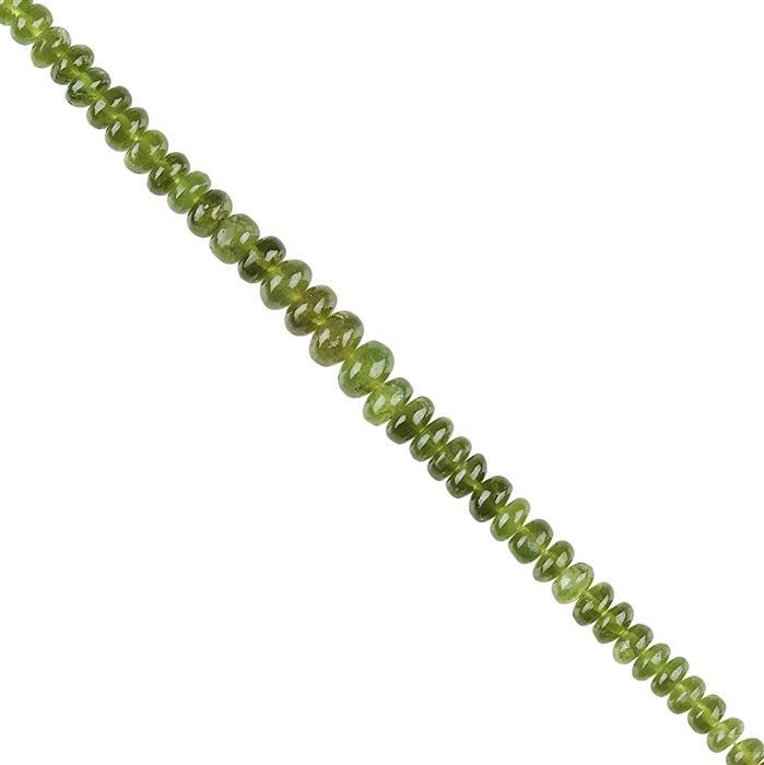 55cts Idocrase Graduated Plain Rondelles Approx 3x1 to 7x4mm, 18cm Strand.