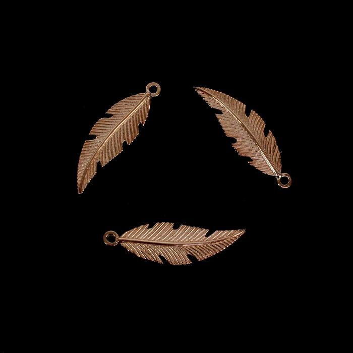 Rose Gold Plated 925 Sterling Silver Fine Detail Feather Charms Approx 20x6mm, 3pcs