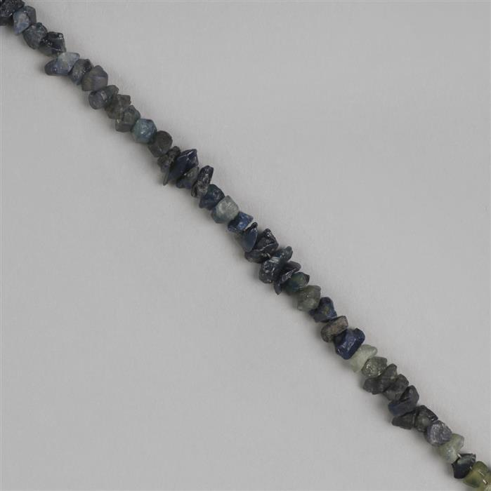 35cts Blue Sapphire Graduated Medium Nuggets Approx 3x2 to 7x2mm, 18cm Strand.