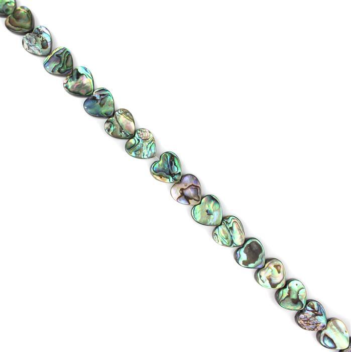 Abalone Flat Hearts Approx 16mm, Approx 38cm Strand