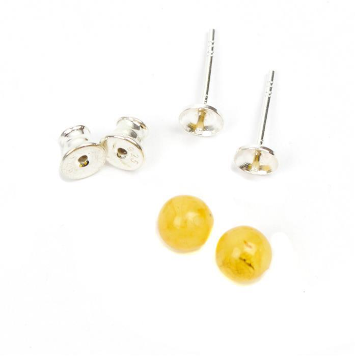 Baltic Butterscotch Amber Sterling Silver Stud Earrings, Approx 6mm (1 pair)