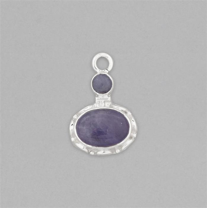 925 Sterling Silver Gemset Pendant Approx 26X17mm Inc. 5.50cts Tanzanite Cabochons