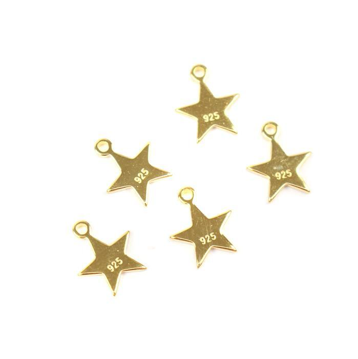 Gold Plated 925 Sterling Silver Stars Charm With Words Approx 8mm, 5pcs