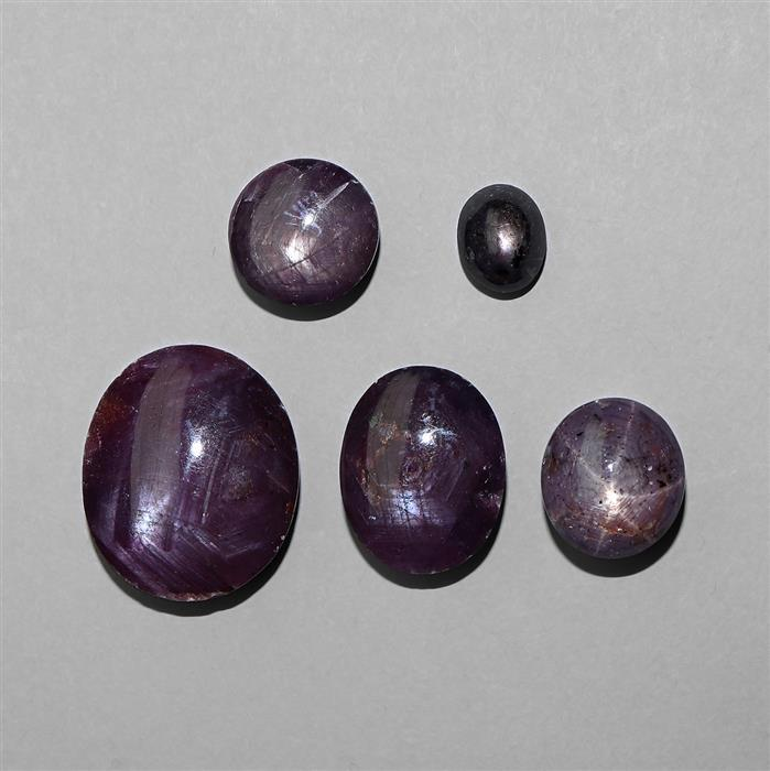 120cts Natural Star Ruby Multi Shape Cabochons Assortment.