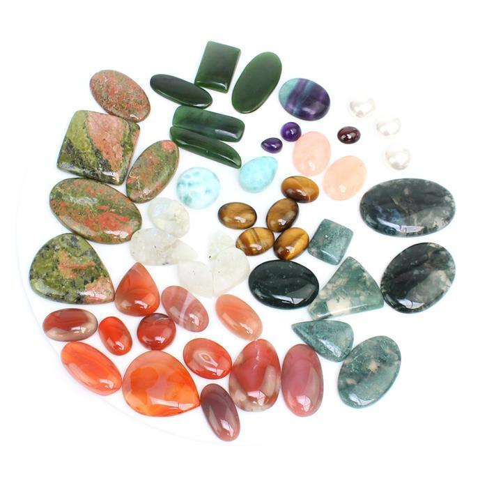 Approx 47 Mega Cabochons Bundle! Inc; Fluorite, Moonstone, Jade, Morganite and Larimar!