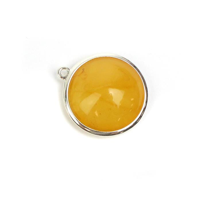 Baltic Butterscotch Amber Sterling Silver Pendant Approx 23x21mm