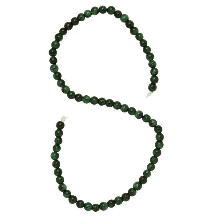 95cts Shaded Green Colour Dyed Quartz Plain Rounds Approx 6mm, 36cm Strand.