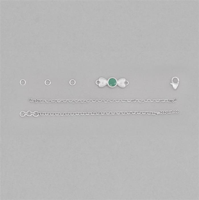 Birthstone Kit: 925 Sterling Silver Bracelet Kit Inc. 0.45cts Emerald Round Approx 5mm