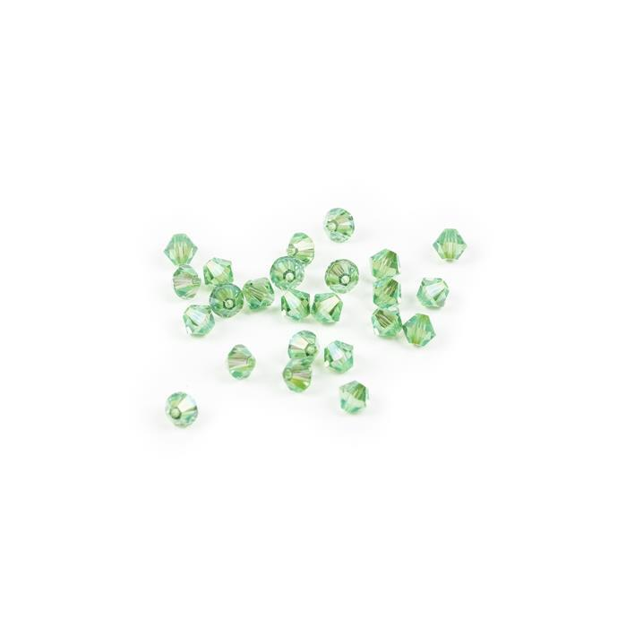Swarovski Crystal Beads - Pack of 24 Bicone 5328 - 4mm Peridot Shimmer 2x