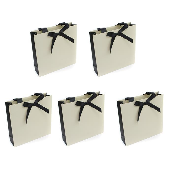 Cream Large Bag with Black Grosgrain Bow Approx 230 x 230 x 65mm, 5pk