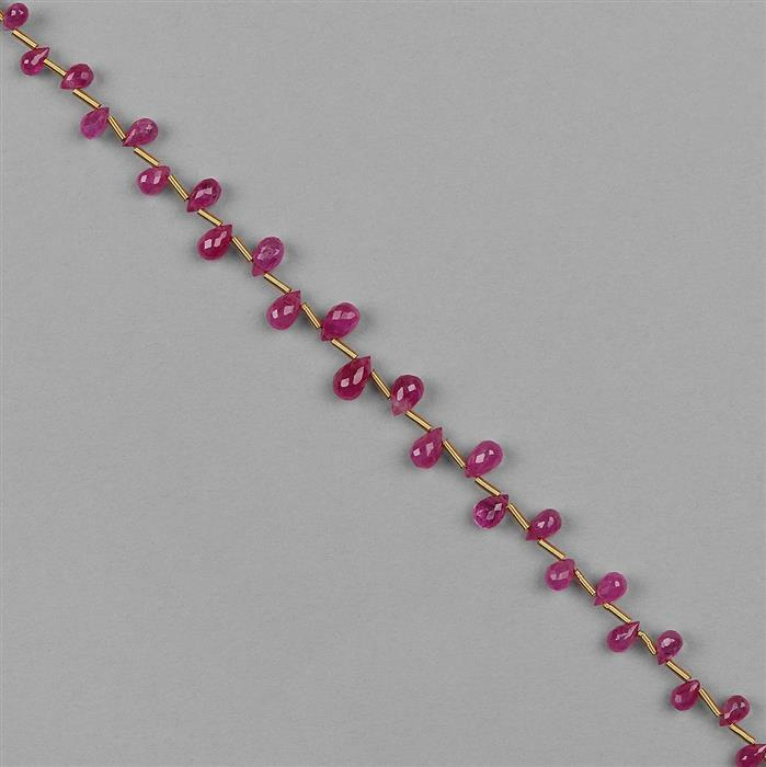 10cts Ruby Graduated Faceted Drops Approx 2x1 to 5x3mm, 12cm Strand.