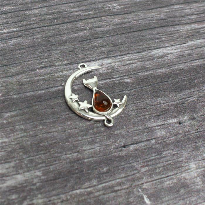 Baltic Cognac Amber Sterling Silver Cat On The Moon with Stars Pendant Approx 25x20mm