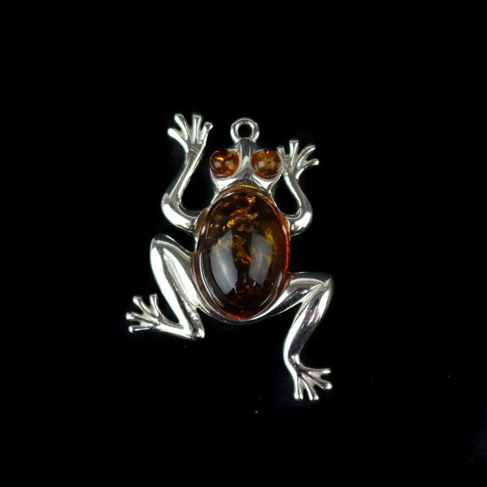925 Sterling Silver Frog Pendant with Baltic Cognac Amber Cabochon Approx 27x22mm