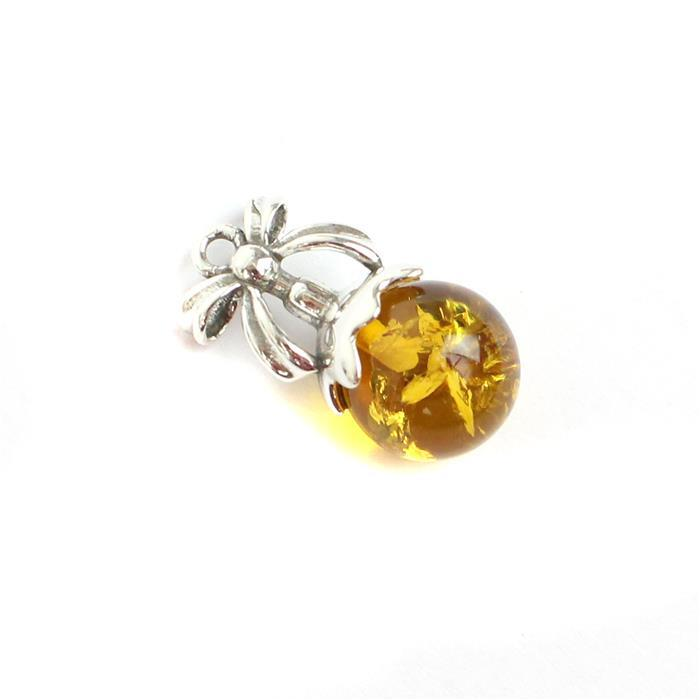 Baltic Cognac Amber Sterling Silver Christmas Pudding Pendant Approx 19x10mm