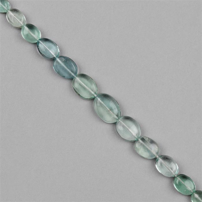 30cts Green Fluorite Graduated Plain Ovals Approx 4x3 to 9x7mm, 18cm Strand.