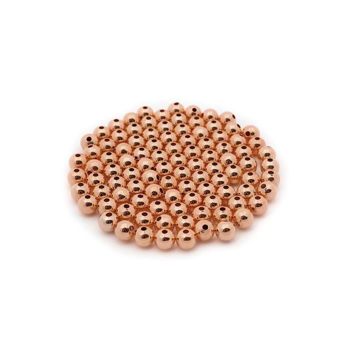 Rose Gold Plated Brass Round Beads - 5mm (100pcs/pk)