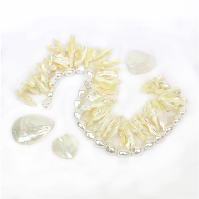 Serenity INC Cream Double Drilled Fancy Shell Strand;White Shell Nuggets & Shell Cabochons