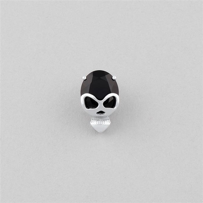 925 Sterling Silver Gemset Skull Pendant Approx 16x10mm Inc. 4cts Black Onyx Brilliant Oval Approx 12x10mm.