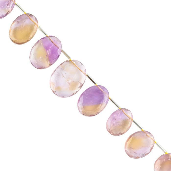 145cts Ametrine Graduated Faceted Corner Drilled Ovals Approx 14x10 to 24x18mm, 18cm Strand.