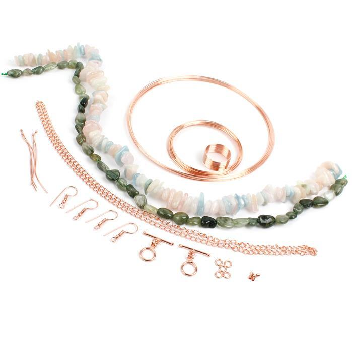 Make Memories: Beryl nuggets, Green Rutile Quartz nuggets & rose gold colour memory wires