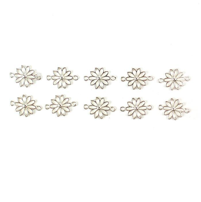 Silver Plated Base Metal Daisy Connectors, Approx 18X12mm (10pcs)