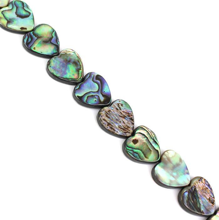 Abalone Flat Hearts Approx 16x16mm, Approx 38cm Strand