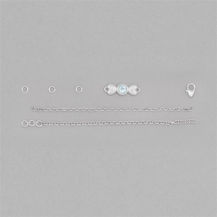 Birthstone Kit: 925 Sterling Silver Bracelet Kit Inc. 0.55cts Sky Blue Topaz Round Approx 5mm