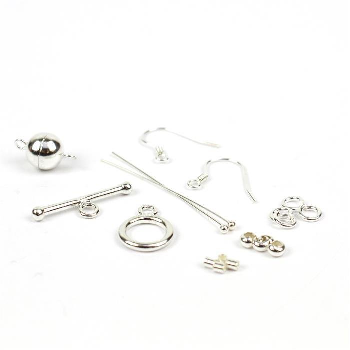 925 Sterling Silver Multifunctional Findings Pack 17pc