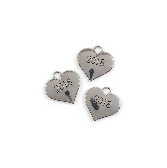 Silver Colour Heart Charms Engraved With 2018 Approx 3cm 3pk
