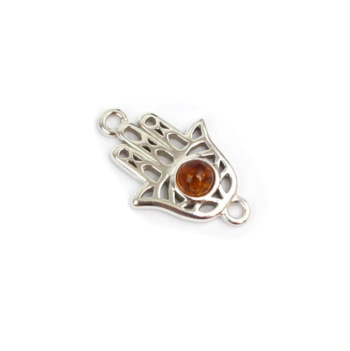 Baltic Cognac Amber Hamsa Hand Connector Approx 15mm Sterling Silver