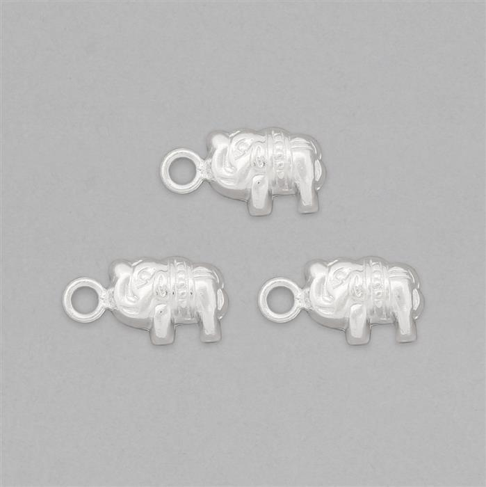925 Sterling Silver Tiny Elephant Charms - 16x8mm (3pcs/pk)