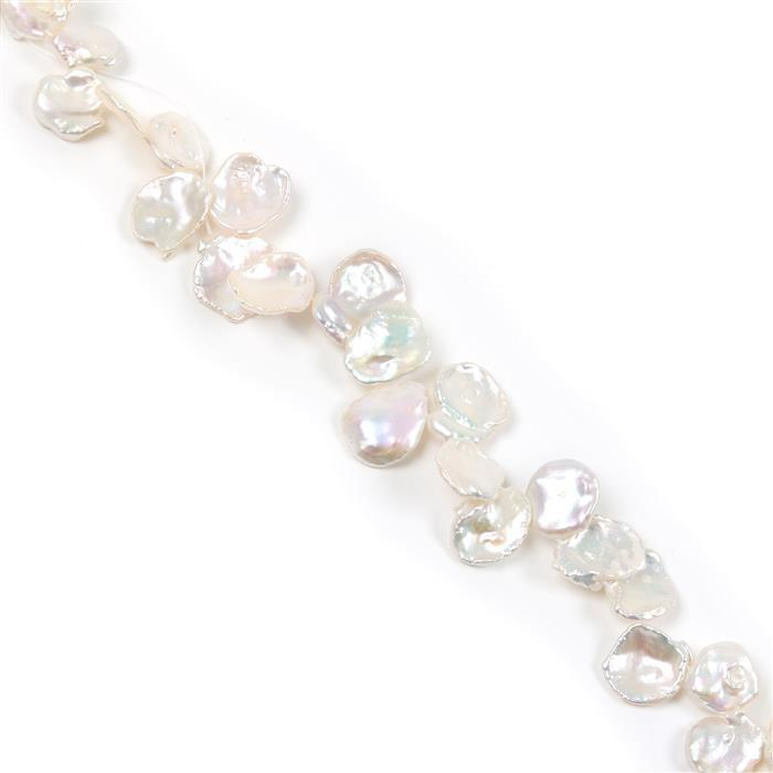 White Freshwater Cultured Keshi Pearls Approx 12x13 to 10x17mm, 38cm Strand
