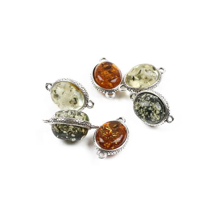 Baltic Multicolour Amber Sterling Silver Oval Connectors Approx 15x9mm, 6pcs