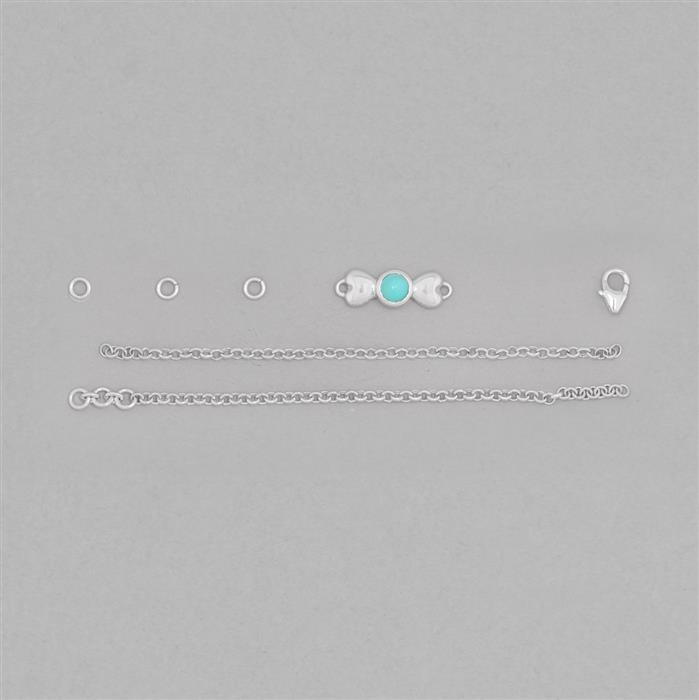 Birthstone Kit: 925 Sterling Silver Bracelet Kit Inc. 0.50cts Turquoise Round Approx 5mm