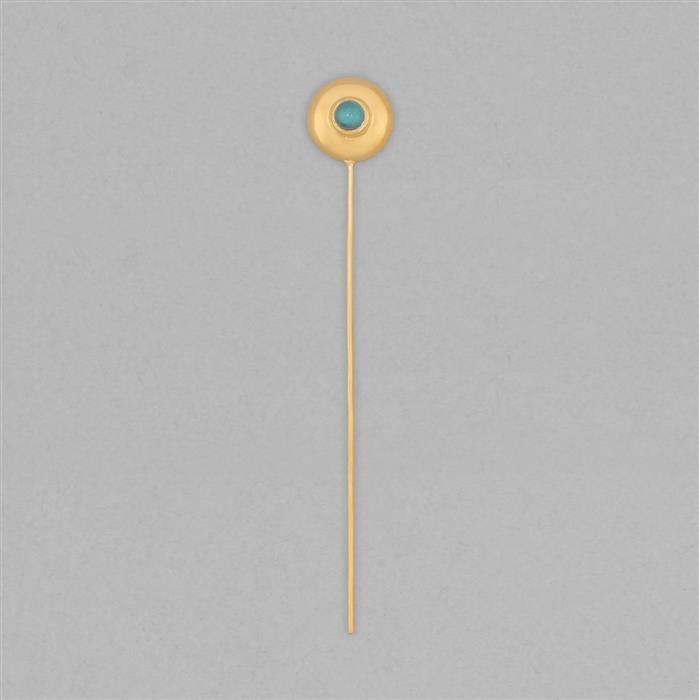 Gold Plated 925 Sterling Silver Gemset Birthstone Headpin Approx 59x9mm Inc. 0.10cts Turquoise Round Approx 3mm