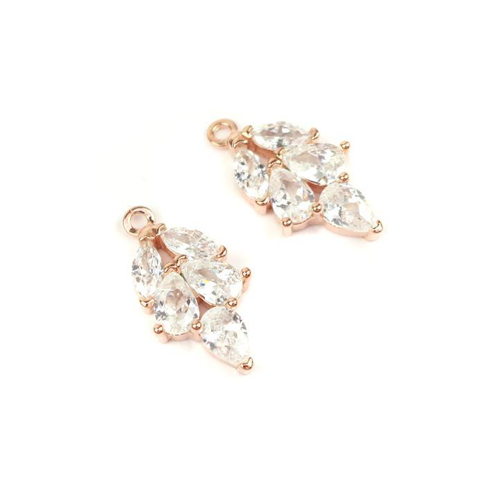 Rose Gold Plated 925 Sterling Silver Cubic Zirconia Leaf Shape Charms Approx 10x20mm, 2pcs