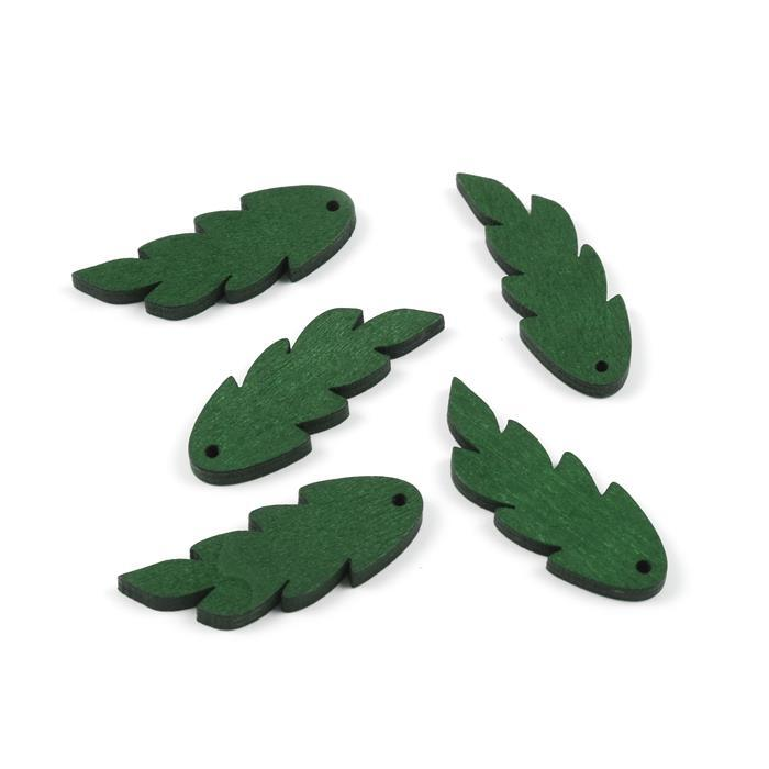 Green Wooden Leaves Approx 47x17mm (5pcs/pack)