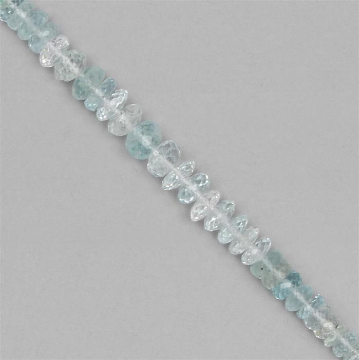 50cts Aquamarine Graduated Faceted Rondelles Approx From 3x1 to 7x2mm, 19cm Strand.