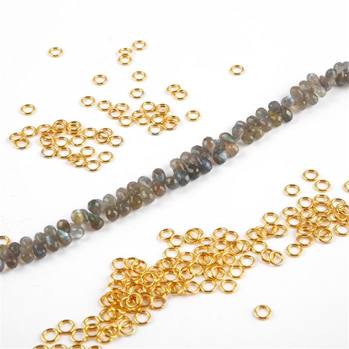 The Jaipur Bracelet Collection Inc; Faceted Labradorite Drops and Gold Plated Jump Rings
