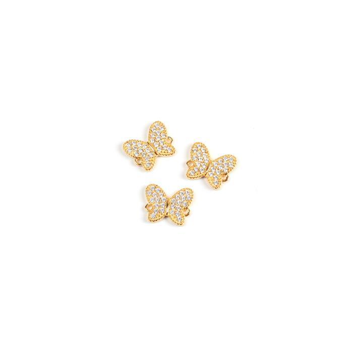 Gold Plated Spring Butterfly Connector 925 Sterling Silver and Cubic Zirconia 12mm 3pk