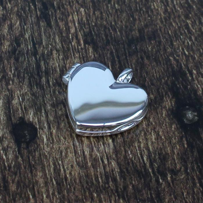 925 Sterling Silver Heart Locket Approx 19mm, 1pc