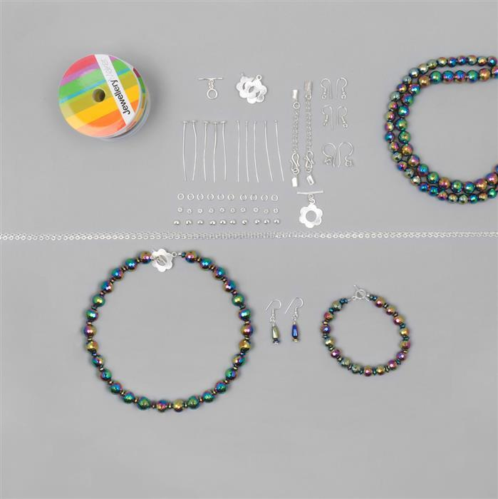 Disco Fever Jewellery Kit Inc; Silver Plated Copper Essential Finding Kit Organza Bag. (Approx 90pcs)