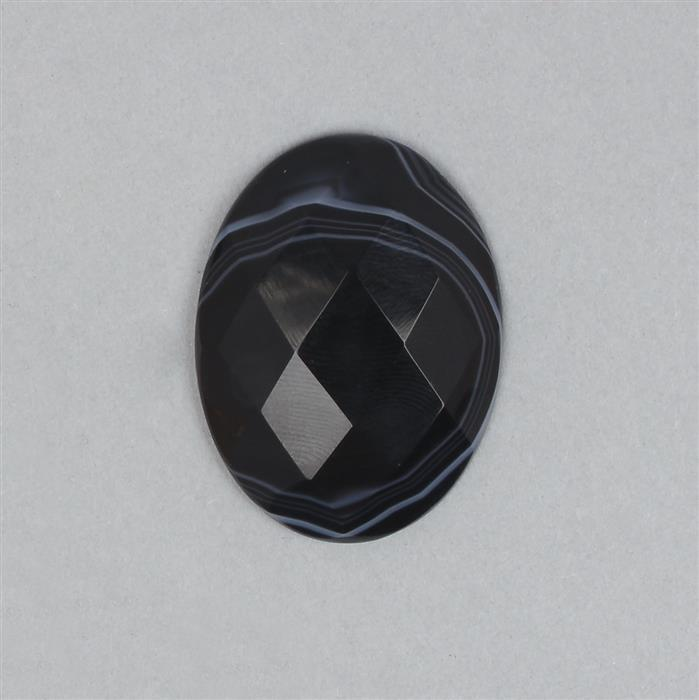40cts Black Stripe Agate Faceted Oval Cabochon Approx 40x30mm