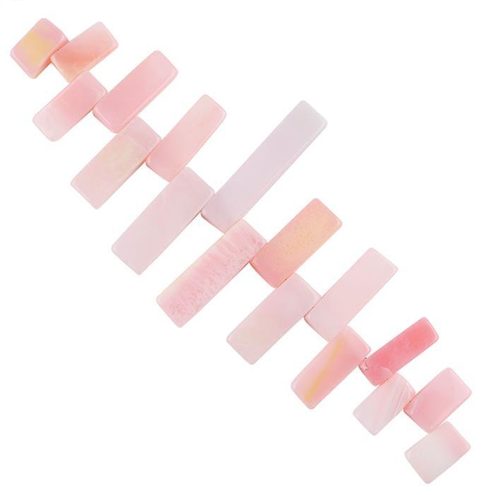 172cts Pink Opal Graduated Plain Bars Approx 13x7 to 27x8mm, 14cm Strand.