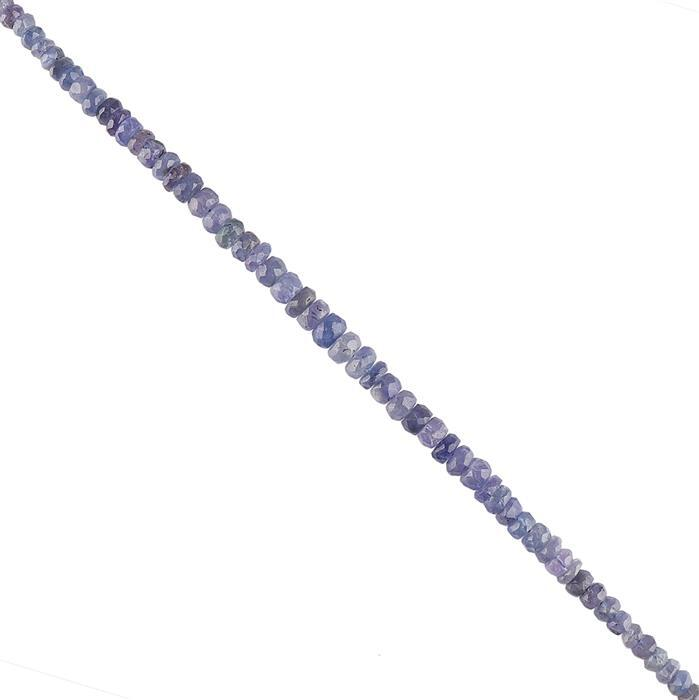 50cts Tanzanite Graduated Faceted Rondelles Approx From 3x1 to 6x2mm, 18cm Strand.