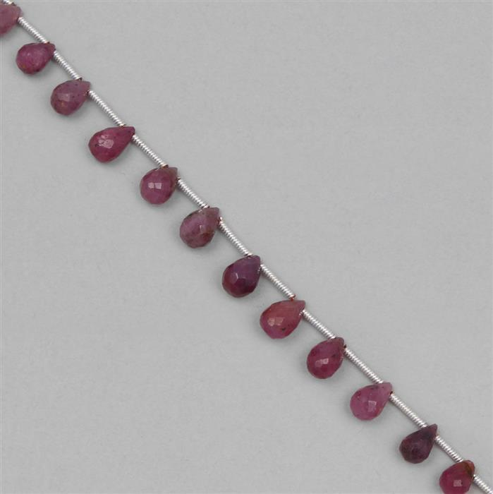 36cts Ruby Graduated Faceted Drops Approx 4x3 to 8x5mm, 19cm Strand.
